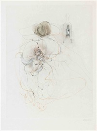 suite de trois estampes sur japon nacré rehaussé d'aquarelle (set of 3) by hans bellmer
