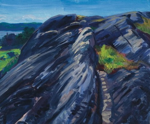 blue granite rocks gloucester by john french sloan
