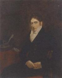 portrait of morton john davison in a black coat, yellow waistcoat and white shirt by henry william pickersgill