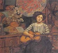femme à la guitare by gustave auguste corlin