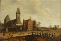 a flemish vilage with figures promenading by cornelis beelt
