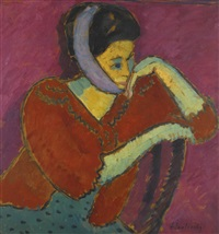 frau mit kopfbinde (woman with head-bandage) by alexej jawlensky