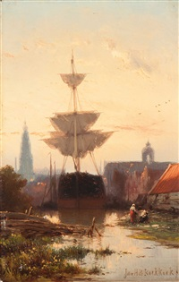 moored ships near amsterdam by johannes hermanus barend koekkoek