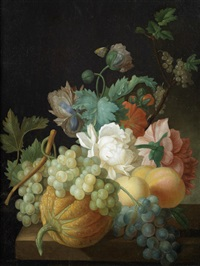 roses, carnations, grapes and peaches with a butterfly on a table-top by pieter faes