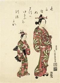 courtesan with child attendant (benezuri-e) by ishikawa (nishimura shigenobu) toyonobu