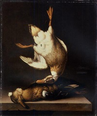 a dead duck suspended from a nail with a fly above a duck on a stone table ledge by jacobus van der hagen
