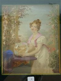 sur une terrasse fleurie, jeune femme les cheveux bouclés relevés en chignon, en robe blanche à manches gigot posant un aquarium sur une console by j. paul fischer