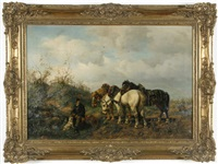 fuhrmann mit seinen pferden bei der rast by ludwig benno fay