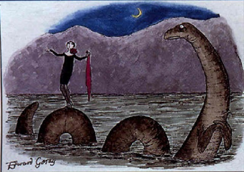 woman standing on back of sea monster by edward gorey