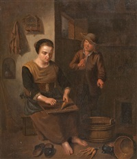 kücheninterieur mit frau und kind by peter (petrus) snyers