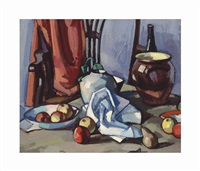 dish with apples, ginger jar, brown crock, bottle, and chair by samuel john peploe