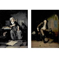 two young artists in their studio (+ another, similar; pair) by charles françois hutin