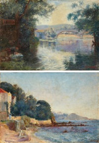 bridge over a river and villa by the sea (pair) by frank charles peyraud