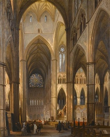 the interior of westminster abbey by jules victor genisson