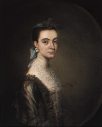 portrait of a lady, half-length, in grey lace-trimmed dress by john lewis