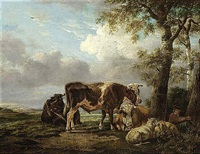 a shepherd boy and his cattle resting beside a tree by anthony jacobus offermans