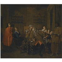 a musical party in an interior by pieter jacob horemans