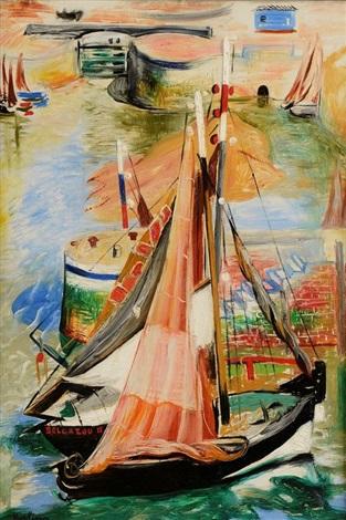 bateau dans le port de honfleur by moïse kisling