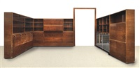three-side shelving unit with integrated bar and hinged bureau by fritz reichl