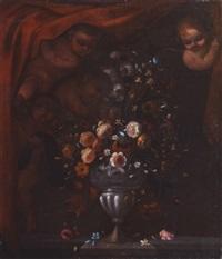 amours soulevant un rideau pour dévoiler un vase de fleurs by pedro de camprobin