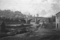 figures by a canal by albert dunnington