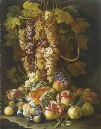 natura morta di frutta con uva e melograni by francesco della questa
