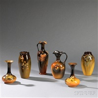rookwood arts & crafts pottery vases (6 works) by rookwood pottery