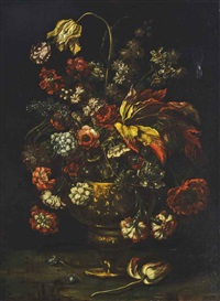 still life with roses in an urn by pieter casteels iii