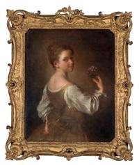 portrait d'une jeune fille avec des fleurs by alexis grimou