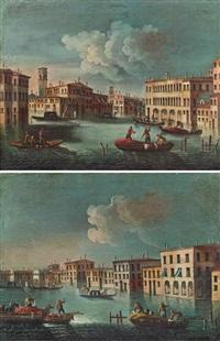 blick entlang eines kanals mit wegkreuzung und zwei booten im vordergrund (+ blick entlang eines kanals, drei boote im vordergrund; pair) by francesco tironi