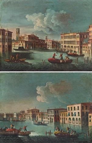 blick entlang eines kanals mit wegkreuzung und zwei booten im vordergrund blick entlang eines kanals drei boote im vordergrund pair by francesco tironi