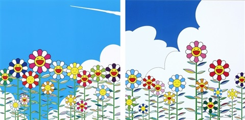 flower flower 2 set of 2 by takashi murakami