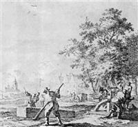 ouvriers soulevant un bloc de pierre by steven goble