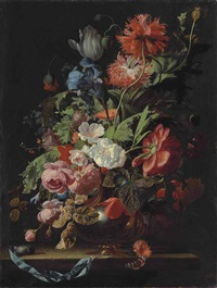 roses, tulips, carnations, poppies, daisies, morning glories, an iris and other flowers in a silver vase on a stone ledge with a pocketwatch.. by simon pietersz verelst