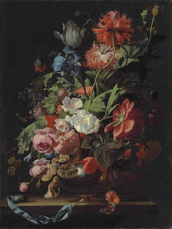 roses tulips carnations poppies daisies morning glories an iris and other flowers in a silver vase on a stone ledge with a pocketwatch by simon pietersz verelst