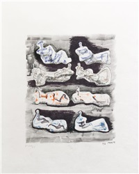 eight reclining figures i (from meditations on the effigy) by henry moore