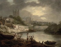 a view of worcester cathedral from the wye, with a washerwoman and anglers in the foreground, and fishing boats tied up beyond by edward dayes