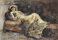 meisje op divan: girl on a sofa by george hendrik breitner