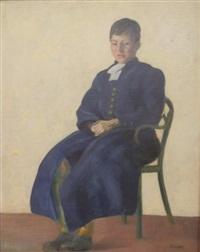 portrait de jeune garçon en bleu by charles cottet