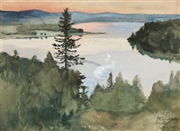 sunset in åland by hugo simberg