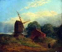 landscape with figure a cottage and a mill by anthony sandys