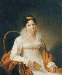 portrait of a lady, seated by francois henri mulard