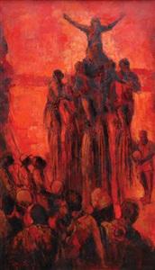 stilt dancers by kolade oshinowo