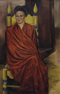 rebozo rojo (possible portrait of sra. maría luisa vargas de domínguez) by maría izquierdo