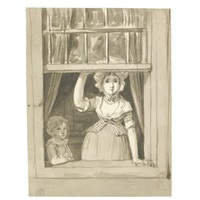 a woman standing at an open sash window, a small boy beside her by anthony andriessen
