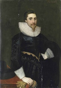 portrait of a gentleman, three-quarter-length, in a black coat with lace collar and cuffs, his right hand holding embroidered gloves and resting on a table by anglo-flemish school (17)