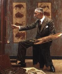 bildnis des malers cornelis jan mension in seinem atelier by huib (huber marie) luns