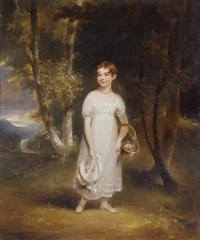 portrait of miss collier in a white dress and a red necklace, holding her hat in one hand and carrying a basket of flowers, in a wooded landscape, a classical building beyond by maria spilsbury