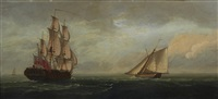 the british frigate, h.m.s. flora with a schooner crossing by francis swaine