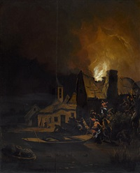 villagers before a burning cottage by egbert lievensz van der poel